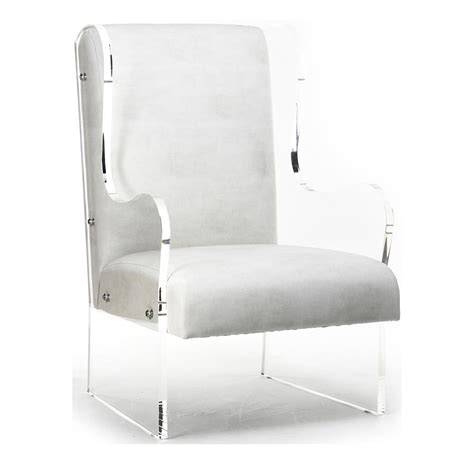 contemporary wing chairs modern art deco ivory faux leather acrylic wing back chair