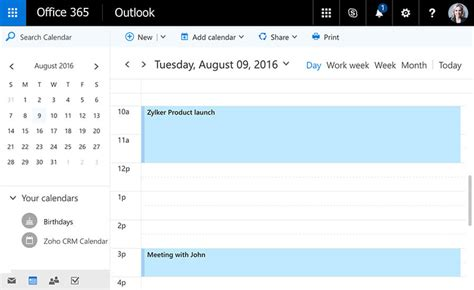Office 365 Zoho Crm Plan Your Week And Monthly Activities Within Crm Zoho Crm