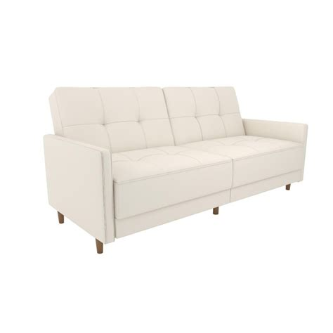 Dhp Andora Coil Faux Leather Convertible Sleeper Sofa In White Leather Sofa Sleeper