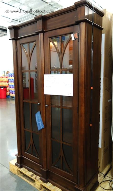 pulaski cambridge sliding door cabinet curio frugal hotspot