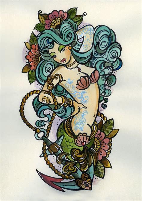 new school mermaid tattoo mermaid pinup visit cute tattoo com old school
