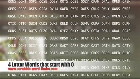4 Letter Words O 4 letter words that start with o