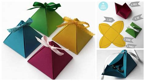 Origami Birthday Box - diy 3d triangular gift boxes diply