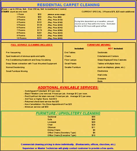 9 Commercial Price List Template Sletemplatess Sletemplatess Cleaning Services Price List Template