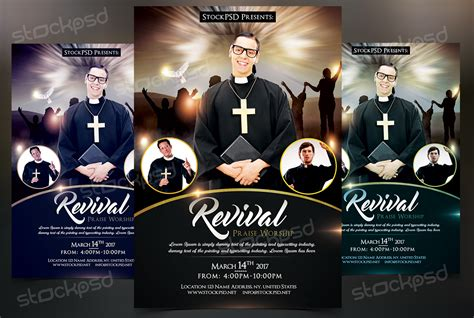 free church revival flyer template revival free church pastor psd flyer template on behance