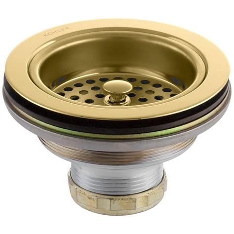 Sink Strainers For Kitchen Sink Kohler Duostrainer 4 1 2 In Sink Strainer In Vibrant Polished Brass K 8799 Pb The Home Depot
