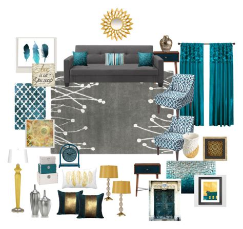teal blue home decor quot teal grey gold living room quot by ealfaro814 on polyvore