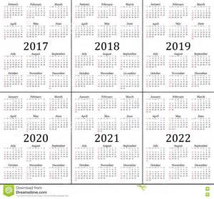Calendar 2018 And 2019 And 2020 Six Year Calendar 2017 2018 2019 2020 2021 And 2022
