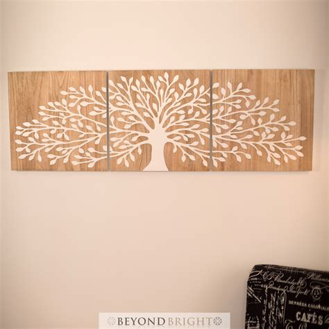 tree of wooden timber carved wall mangowood