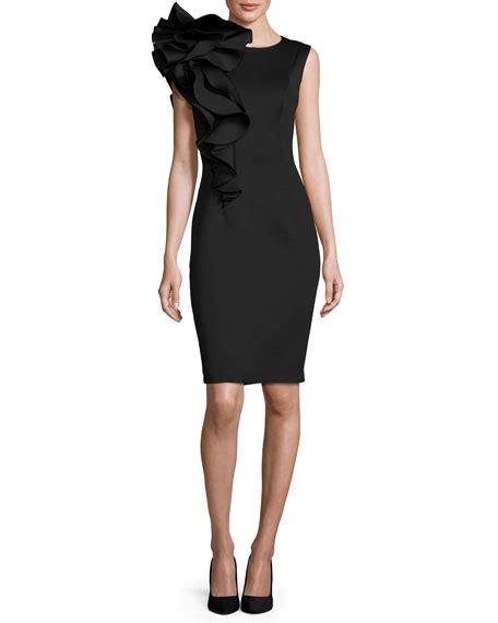 Ruffle Trim Sleeveless Dress jovani sleeveless ruffle trim crepe sheath dress black