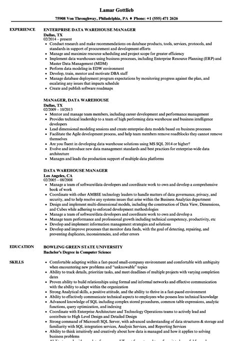 warehouse manager job description for resume from cover letter