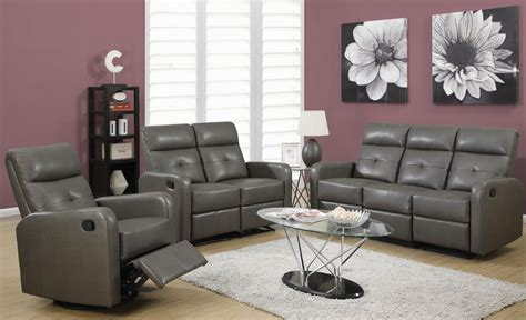 85gy 3 Charcoal Gray Bonded Leather Reclining Living Room Grey Living Room Set