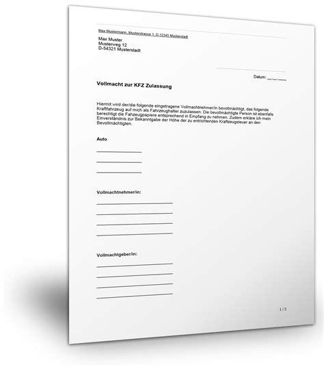 Vollmacht Zum Auto Anmelden by Vollmacht Kfz Zulassung Vollmachtmuster