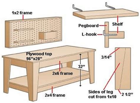workshop bench plans make your own garage workbench www tidyhouse info