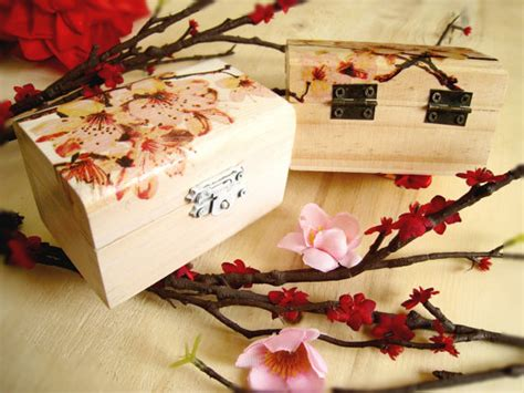 Decorating With Wooden Boxes by Personalized Small Wooden Box Cherry Blossom Ring