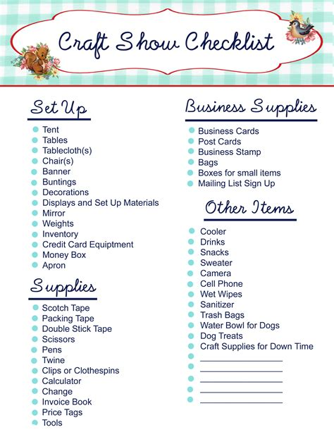 4 best images of printable household items list cleaning free printable craft show checklist my so called crafty