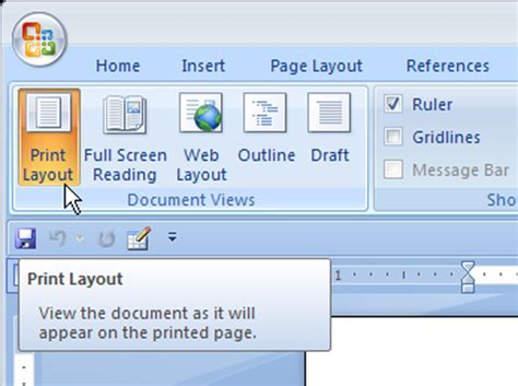 layout get view layout microsoft word 2007