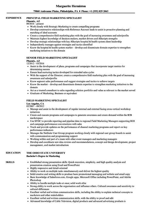 Marketing Specialist Resume by Field Marketing Specialist Resume Sles Velvet