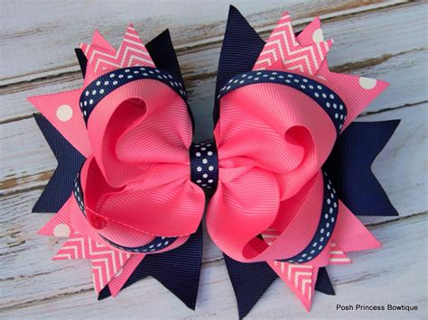 hair bows hair bows navy blue pink hair bows by poshprincessbows1