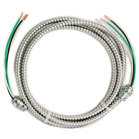 10 2 stranded mc cable southwire 12 2 x 15 ft solid cu mc metal clad armorlite