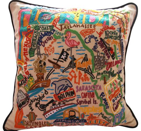 state of florida embroidered pillow style