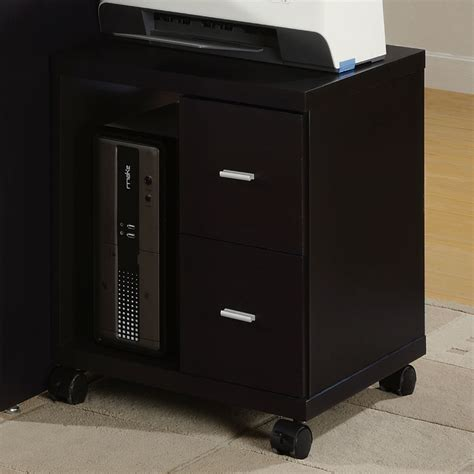 arya mobile printer stand cappuccino 2 drawers shelf
