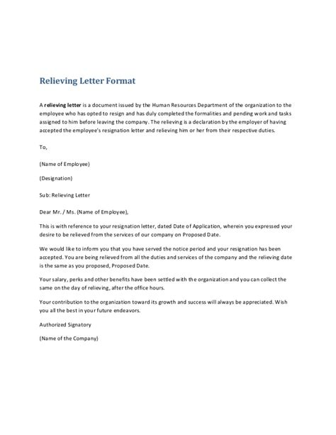 relieving letter template relieving letter format