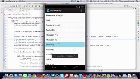 android tutorial onclick android tutorial 5 show list view show onclick cont