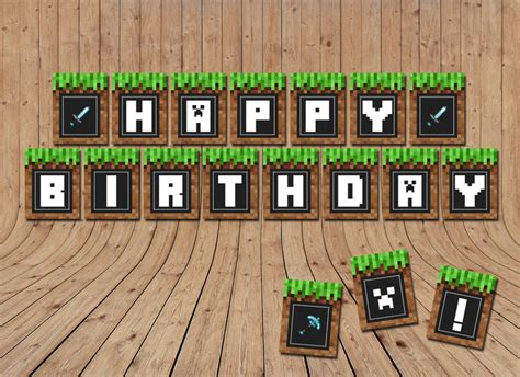 printable happy birthday minecraft banner minecraft birthday banner minecraft party supplies