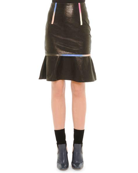 marco de vincenzo leather iridescent trim skirt in black