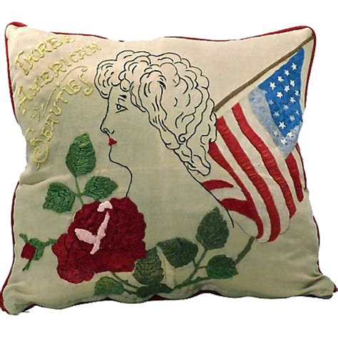 Needlework Pillows by Vintage American Needlework Pillow From