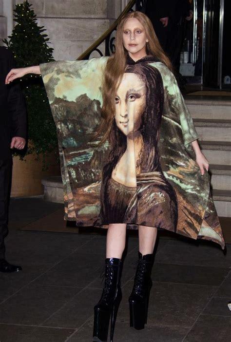 43201 Monalisa Dress gaga leaves hotel wearing mona dress and gold headpiece