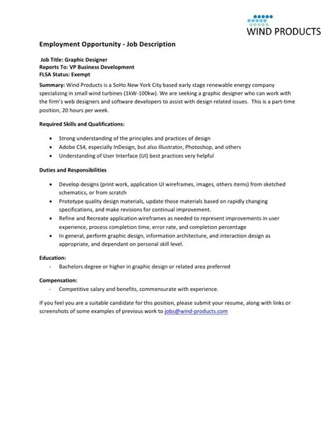 home design job description wind products graphic designer job description