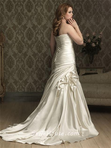 satin silk wedding dresses mermaid sweetheart court ivory silk satin plus size