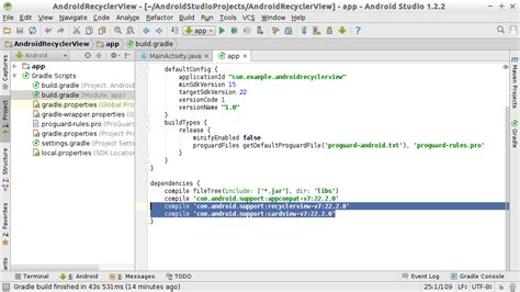 android studio listfragment tutorial android er add support libraries of recyclerview