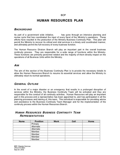 human resources plan template human resources plan template 1