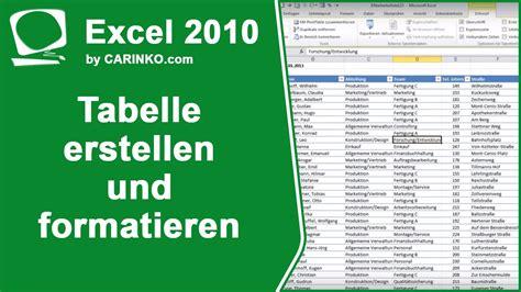 tabelle erstellen excel tabelle erstellen und formatieren tutorial