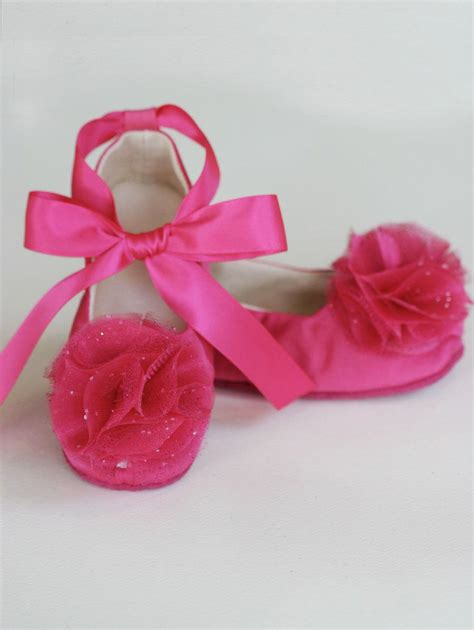 flower satin shoes fuchsia satin baby shoe satin flower ballet flat