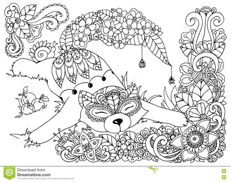 cats coloring book grayscale stress relief calming and relaxing coloring book portable books vector illustration fox in the flowers doodle drawing