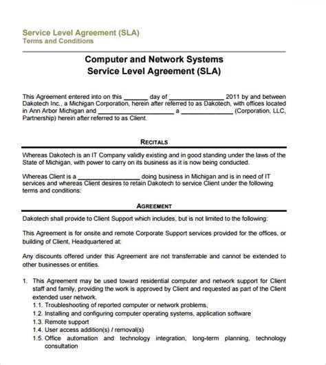 service level agreement samples word