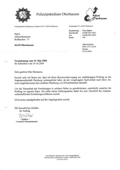 Schreiben An Staatsanwaltschaft Muster Die Briefvorlage Der Polizeipr 228 Sidentin Heide Flachskf Hagemann Oberhausen