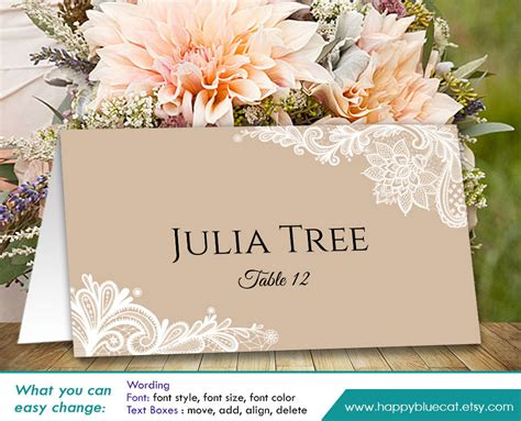 diy place cards diy printable wedding place card template instant download