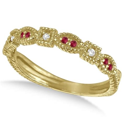 Ruby 7 65 Ct vintage stackable ruby ring 14k yellow gold 0