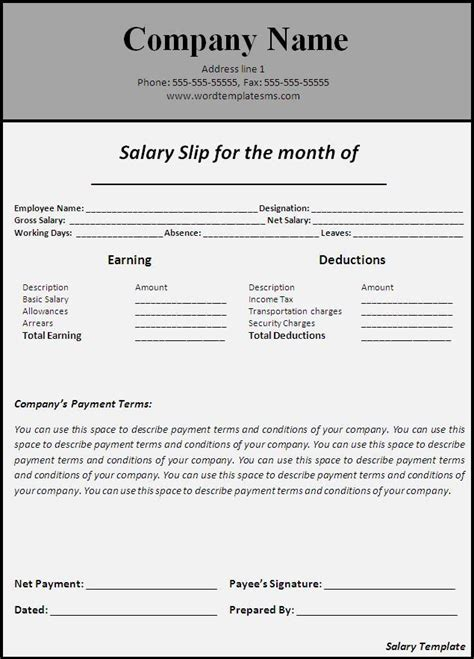 salary receipt template us salary invoice template hardhost info