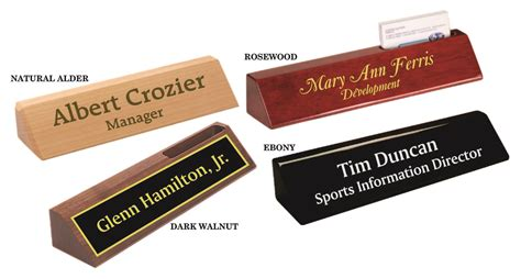 engraved desk name plates with business card holder award specialties engraved wooden nameplates