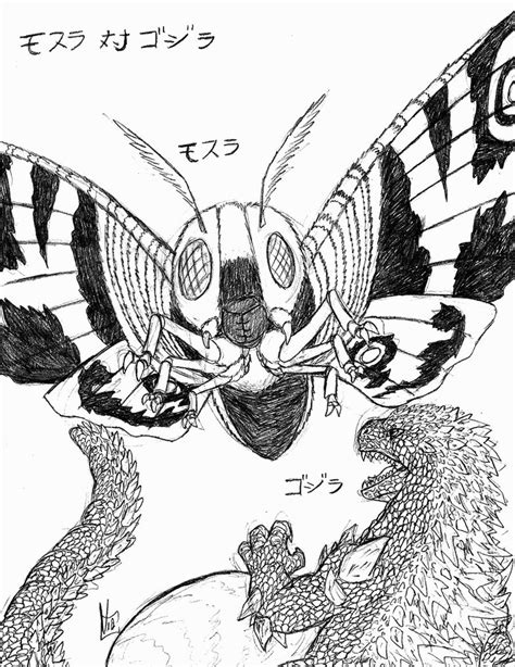 godzilla vs mothra coloring pages mothra vs godzilla by metallian1990 on deviantart
