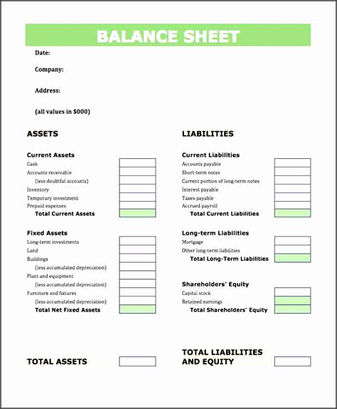 accounting balance sheet template excel 6 balance sheet format in excel sletemplatess
