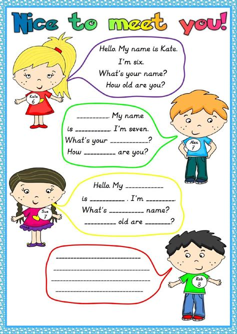 Esl Introducing Yourself Worksheet by To Meet You Interactive Worksheet