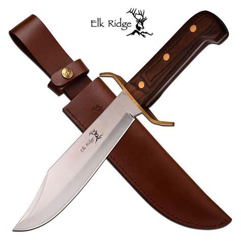 elk handle bowie knife elk ridge 14 5 inch fixed blade bowie knife with wood handle