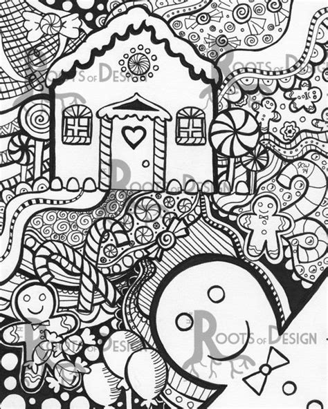 christmas zentangle coloring page instant download printable gingerbread man and house